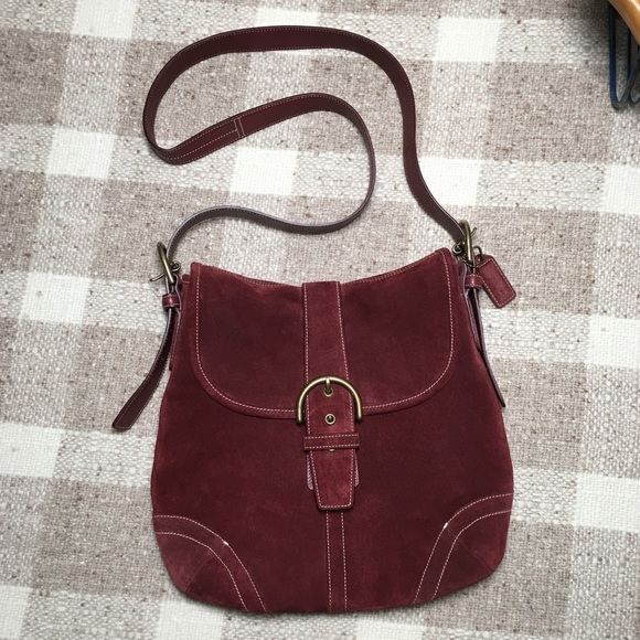 Coach Handbags - Coach suede soho buckle wine crossbody bag purse